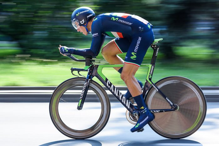 A high speed action shot of a cyclist
