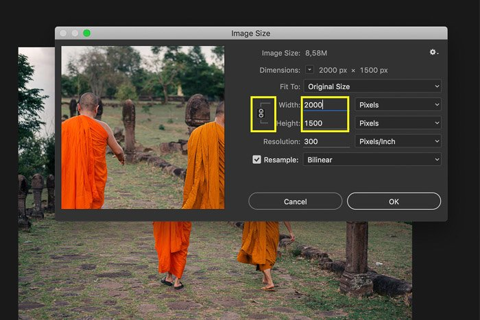 A screenshot showing how to increase width and height of image in Photoshop