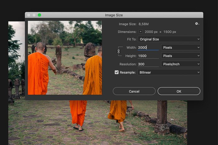 A screenshot showing how to adjust image size in Adobe Photoshop