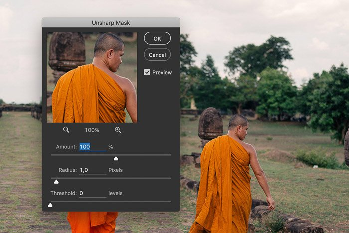 A screenshot showing how to adjust the amount slider to change resolution in Photoshop