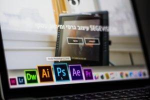 Laptop with Photoshop icon