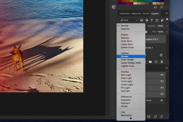 A screenshot of how to add light leaks to a photo in Photoshop - changing the blending mode