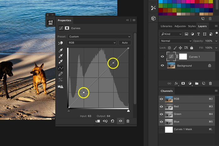 A screenshot of how to create anchor points in Photoshop