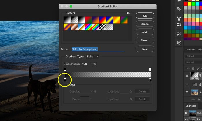 A screenshot of how to use gradient editor to add light leaks to a photo in Photoshop