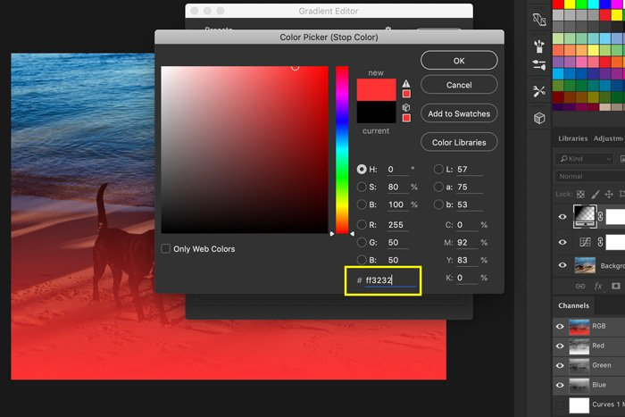A screenshot of how to add light leaks to a photo in Photoshop - gradient editor