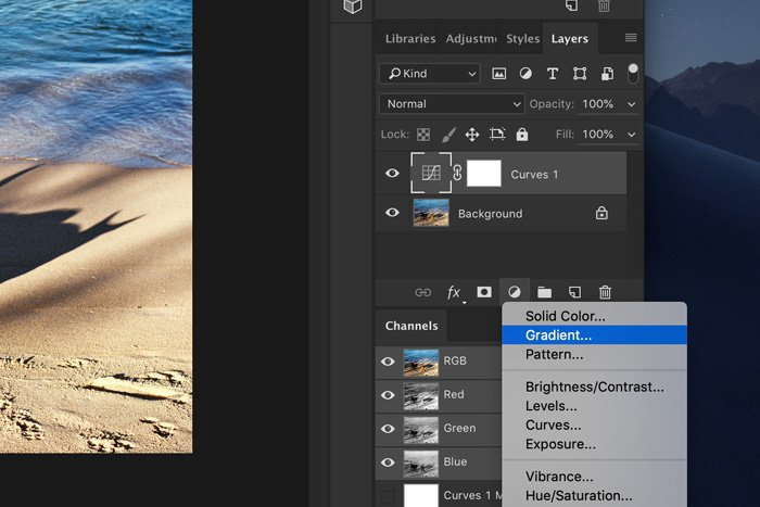 A screenshot of how to add light leaks to a photo in Photoshop - add a gradient