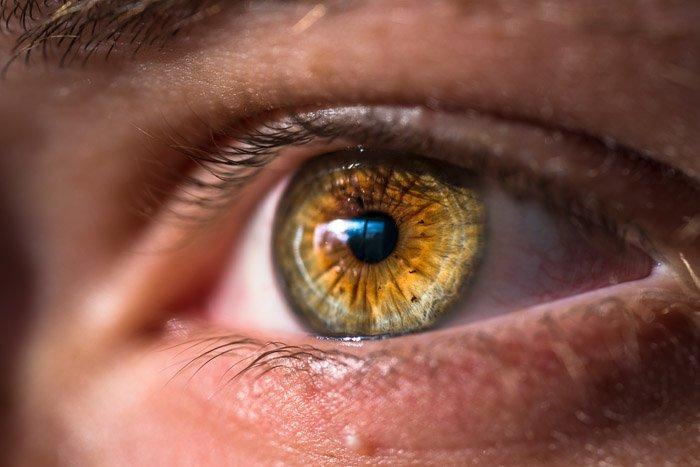 Macro eye photography of a brown eye