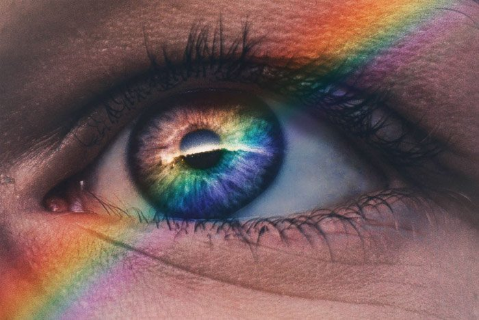 Rainbow spectrum accross a macro picture of an eye