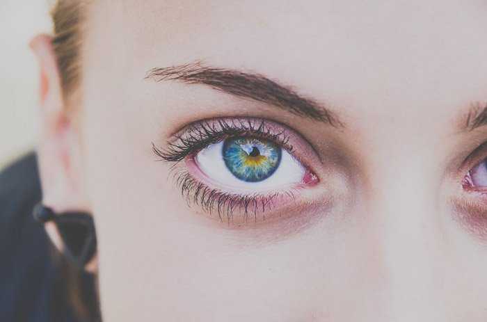 A close up picture of a female models blue eyes