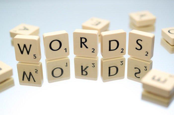 Scrabble pieces spelling 'words'