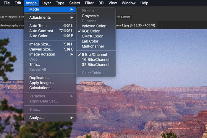 A screenshot of choosing color modes in photoshop - color management