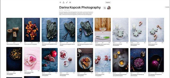 A screenshot of a photographers pinterest board