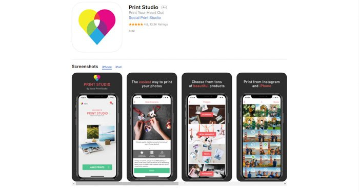 A screenshot of Print Studio app for printing iphone photos