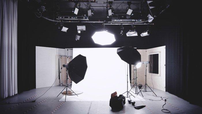 A photography studio lights setup