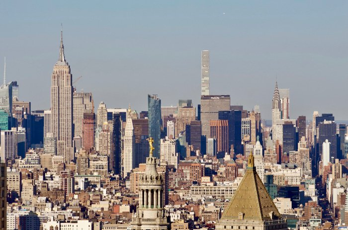 A sprawling cityscape shot with a telephoto lens
