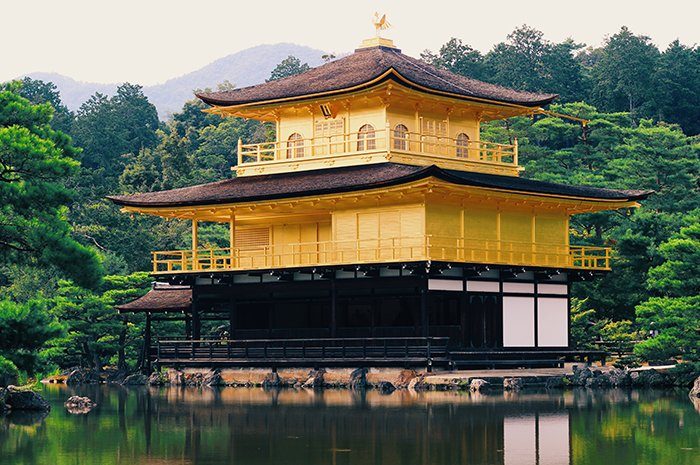 The gold covered temple ofKinkakuji in Kyoto,next to a forest and a pond. Japan photography tips