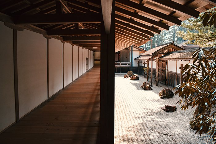 Interior view of Kōya-San Buddist community in southern Osaka