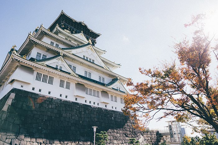 A stunning view of Osaka Castle in japan