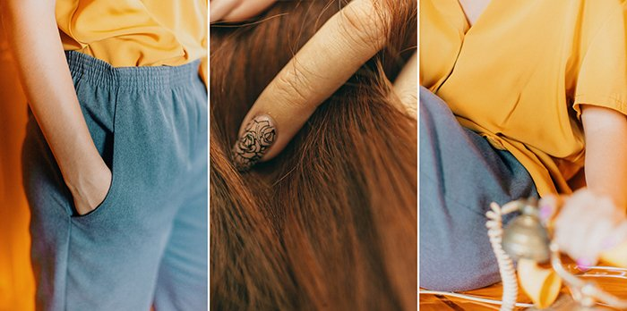 A triptych photography example featuring three close up views of a female model