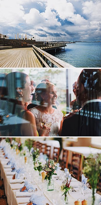 A triptych photography example featuring three different views of a wedding