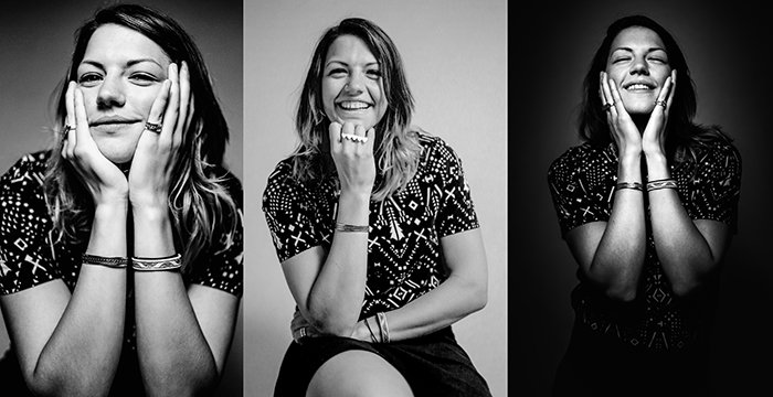 A triptych photography example featuring three monotone portraits of a female model making different facial expressions