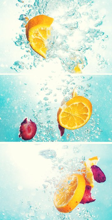 A triptych photography example featuring three views of a creative food photo setup
