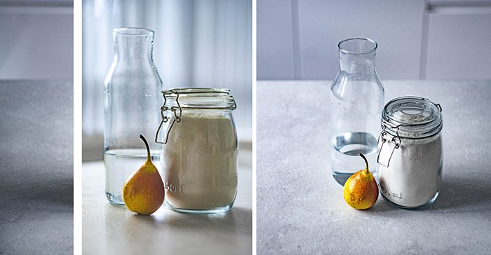 A triptych photography example featuring three different views of the same still life
