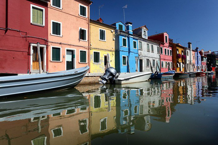 The colorful houses at the canal banks in Venice - venice pictures
