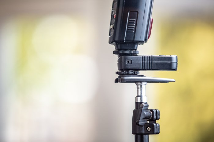 A close up of a wireless flash trigger