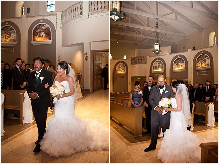 A diptych wedding portrait of the bride walking the aisle and couple being married - wedding flash photography