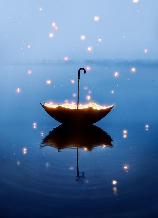 Conceptual still life of a magic umbrella