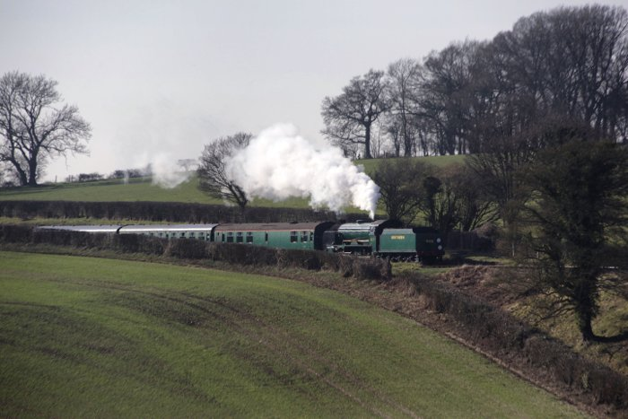 A steam train driving through a luscious green countryside - locomotive photography