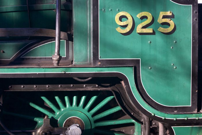 Close up of a green train - locomotive photography