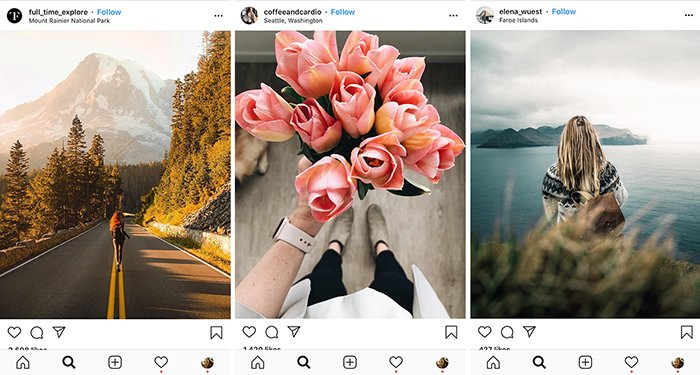 A triptych of three smartphone screens open on Instagram feed - how to take good instagram pictures