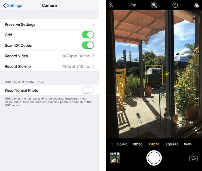 A smartphone screenshot of changing composition settings on Instagram - how to take good instagram pictures