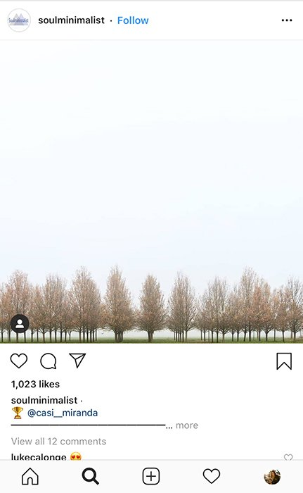 A smartphone screenshot of a minimalist landscape on Instagram - how to take good instagram pictures