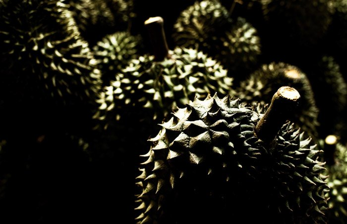 A dark and grungy photo of Durian fruits