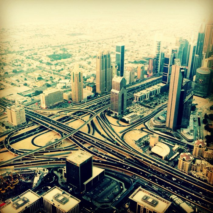 Aerial smartphone photo taken from the viewing gallery of the Burj Khalifa.