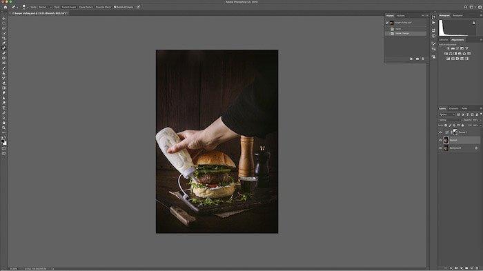 A screenshot of editing burger photo on lightroom