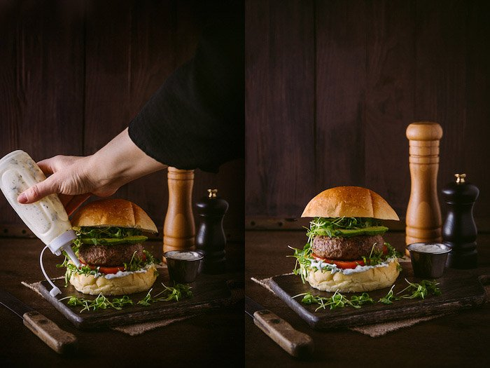 A diptych of styling a rustic burger photoshoot
