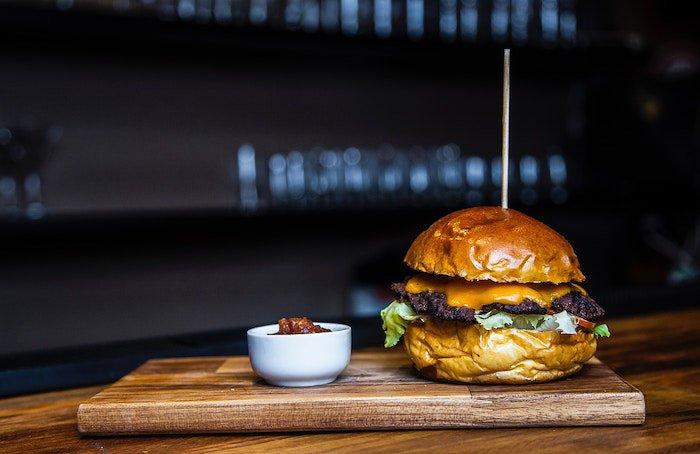 Mouthwatering cheeseburger photo