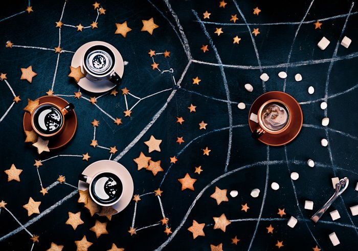 A space themed still life using creative cookie photography