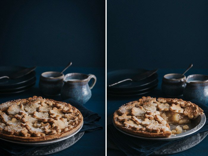 A dark and moody diptych of a fruit crumble