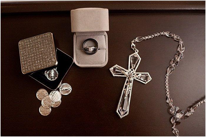 A flat lay still life of wedding jewelry