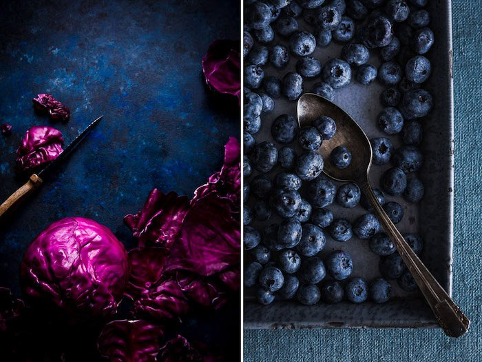 A food photo diptych of berries on blue background
