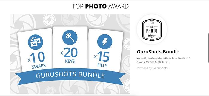 Screenshot from Gurushots photography website 'top photo award'