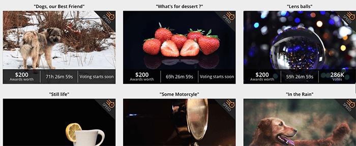 Screenshot from Gurushots photography website 'prizes'