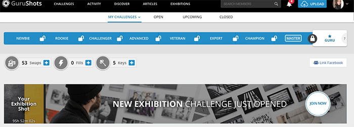 Screenshot from Gurushots photography website - levels