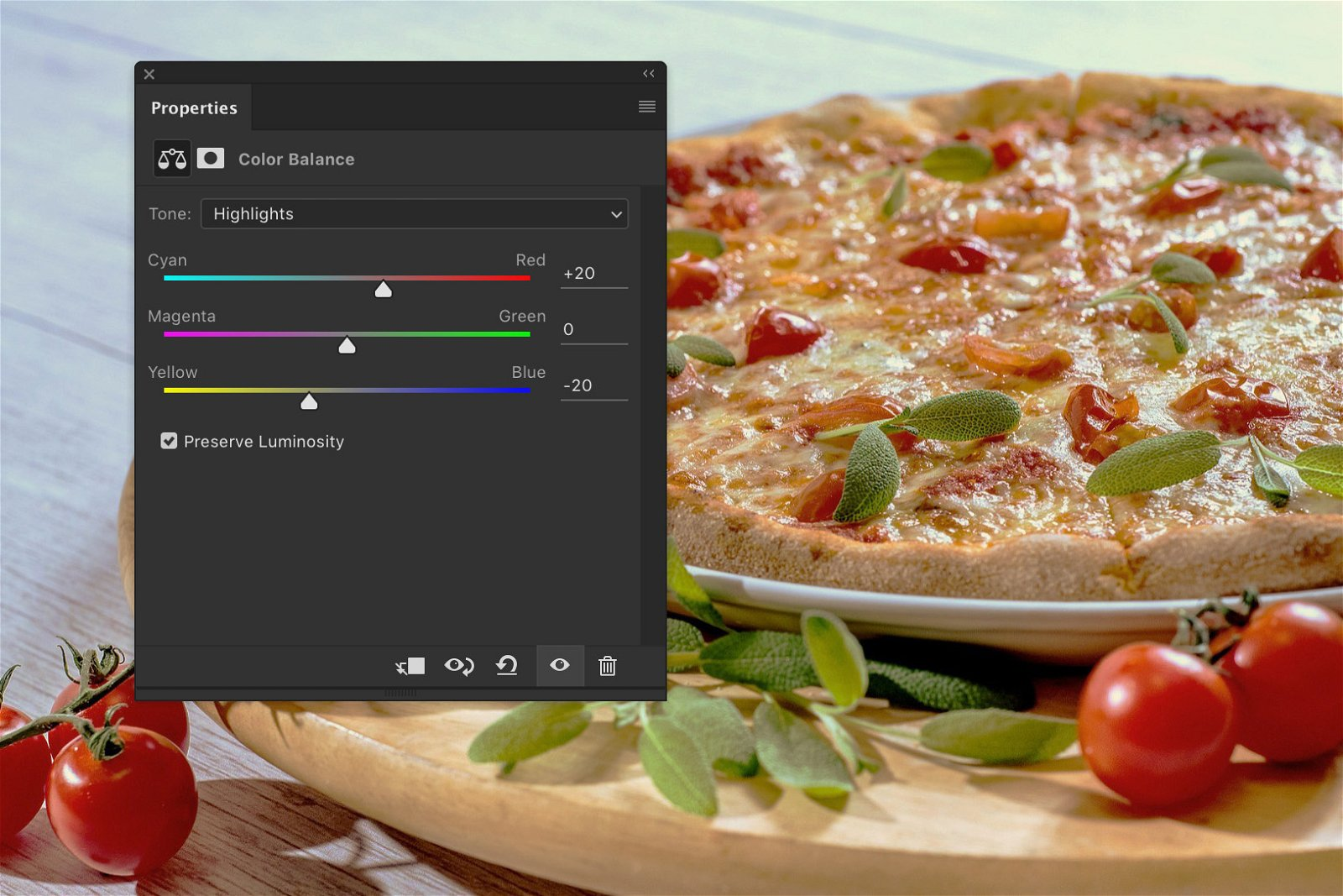 A screenshot showing how to edit food photography in Photoshop - highlights