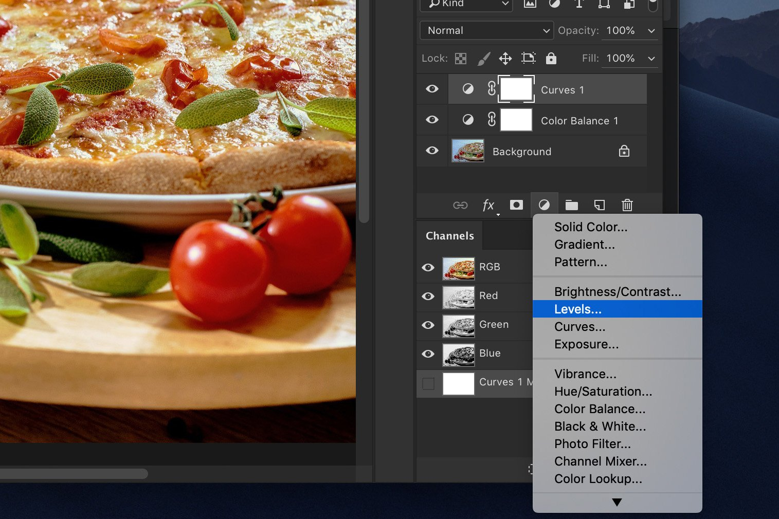 A screenshot showing how to edit food photography in Photoshop - lift the highlights